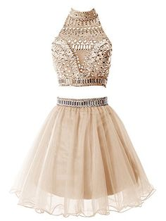 Tideclothes Short Two Pieces Prom Dress Beading Tulle Homecoming Dress Champagne4 >>> Learn more by visiting the image link.