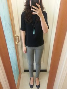 COS navy blue top, UNIQLO grey skinny jeans, tessel beaded necklace, blue leather flats.