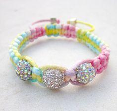 Friendship bracelet rainbow pastels macrame by pieceofart on Etsy, $25.00
