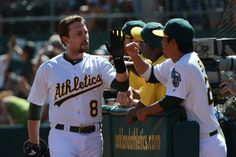 CrowdCam Hot Shot: Oakland Athletics shortstop Jed Lowrie is congratulated for hitting a two-run home run against the Los Angeles Angels during the third inning at O.co Coliseum. Photo by Kyle Terada