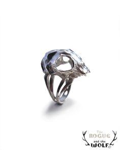 Sterling Silver Cat Skull Ring animal skull ring by HidenSeek