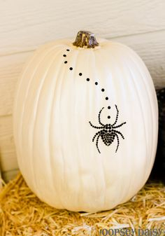 painted pumpkin with spider jewel sticker (Michael's)