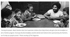 """""""Serving the people--Black Panthers Kent Ford supervises children from King School, who get a free hot breakfast under a Panther program. Ford says the free breakfast, and free dental and medical clinics sponsored by the Panthers, are 'to help our people survive,'"""" 1974  Photo credit: The Oregonian"""