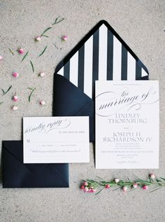 This striped invitation suite is everything! http://www.stylemepretty.com/2016/03/06/smp-march-madness-your-sweet-16/