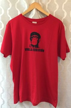 Viva La Evolucion Red Funny T Shirt Adult Size XL Che Guevara Cuba Darwin Ape #BustedTees #BasicTee