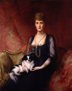 """Queen Alexandra """"Alix"""" (1844-1925) Denmark wife of Albert Edward (King Edward VII) (1841-1910) Prince of Wales, UK by Sir Samuel Luke. Alix's family had been relatively unknown until when she was a child her father Prince Christian of Schleswig-Holstein-Sonderburg-Glücksburg was chosen to succeed his distant cousin, Frederick VII, to the Denmark throne. Alix was 2nd child of King Christian IX (1818-1906) Denmark & Princess Louise (1817-1898) Hesse-Kassel, Germany."""