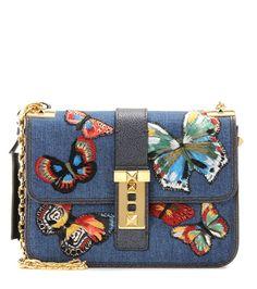 Valentino - B-Rockstud Rolling embroidered denim shoulder bag - Valentino's…