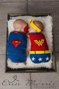 Baby Portraits | Twin Superheros Superman & Wonder Woman