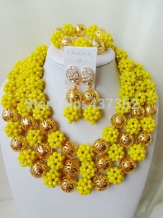 Find More Jewelry Sets Information about Marvelous! Opaque Yellow Crystal Ball Nigerian Wedding African Beads Jewelry Set NC1521,High Quality Jewelry Sets from Alisa's Jewelry DIY Store on Aliexpress.com