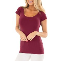 69101d1d323eb8 NAME YOUR OWN PRICE -Women Solid Short Sleeve Causal Tunic Blouse Tops T- Shirt