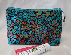 Teal Cosmetic Bag, Make Up Bag, Zipped Bag, Pencil Bag, Toiletry Bag by rosemontbags on Etsy