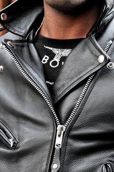 Men's leather biker
