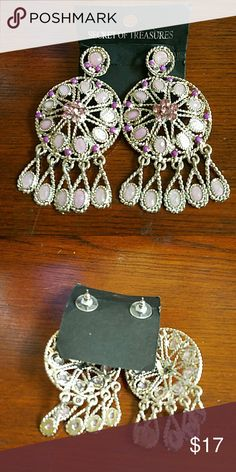 Statement Bohemian Earrings NWT These fabulous earrings are stunning in person!! Lavender irredescent stones, purple crystals and filigree work! Brand new! Jewelry Earrings