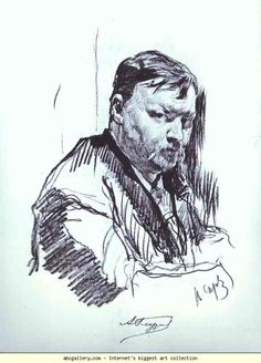 Valentin Serov. Portrait of the Composer Alexander Glazunov.