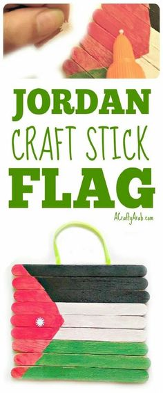 Learn how to make a craft stick flag of the flag of Jordan. Fun Arts And Crafts, Craft Stick Crafts, Thinking Day, Creative Thinking, Petra, Jordan Flag, Jordan Country, Ramadan Crafts, Craft Projects For Kids