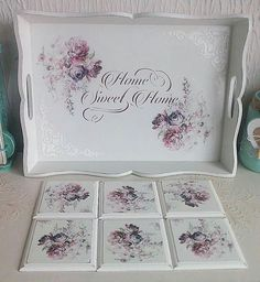 Decoupage Wood, Decoupage Vintage, Crafts To Make And Sell, Diy And Crafts, Painted Trays, Craft Storage, Diy Painting, Wood Crafts, Decorative Boxes