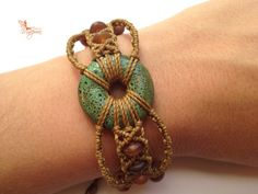 Handwoven ceramic macrame bracelet with par creationsmariposa, $37.00
