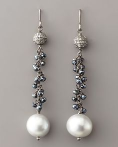 Diamond & Pearl Drop Earrings by Wendy Brigode at Neiman Marcus.