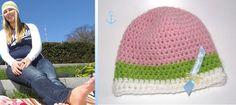 """hvide Häkelmütze """"Cupcake"""" ~ rosa hellgrün weiss"""