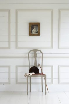 Little Greene paints | First Sense cladding in shirting moulding in joanna chair in silt