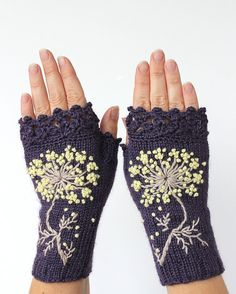 MADE TO ORDER in 4-6 Wochen, Fingerlose Handschuhe aus Gewirken, Blume, Handschuhe und Fäustlinge, Geschenk-Ideen für ihr Winter-Zubehör,