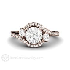 Forever One Moissanite Engagement Ring Conflict Free 14K or 18K Gold Platinum 3 Stone Vintage Style