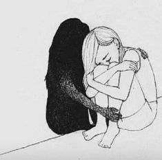 Illustration Sad When I need myself and my shadow, don't say a friend like that doesn't exist. It's so real. It's real and therefore it exists Illustration Sad Source : When I need myself Sad Drawings, Drawing Sketches, Drawing Ideas, Drawing Art, Sad Sketches, Deep Drawing, Depression Artwork, Dark Art, Texts