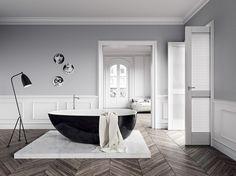 Black Bathtub   Incredible Bathtub Ideas With Luxurious Appeal at  http://maisonvalentina.net/blog/incredible-bathtub-ideas-with-luxurious-appeal/ #ModernBathroom #blackbathtubs