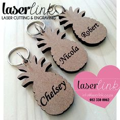 We laser cut and engrave on laser cut wooden key rings. Perfect for branding for businesses or ideal for wedding gifts with a personalized name or message. Key Rings, Laser Cutting, Sculpture Art, Wood Projects, Wedding Gifts, Wedding Decorations, Carving, Place Card Holders, Fundraising Ideas