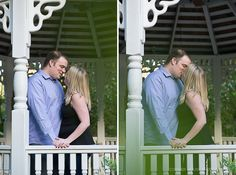 Lake Lucerne Engagement – Orlando Engagement Photographer - Elegant engagement kissing in gazebo.