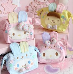Kawaii Bowknot My Melody Kitty Gemini Cosmetic Bag Makeup Storage Case Portable