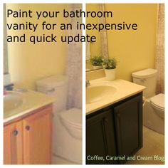 How To Paint Your Bathroom Vanity (via Coffee, Caramel U0026 Cream Blog).