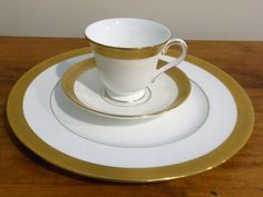 Kells china set from Waterford China.  The gold rim is impressed with a Celtic knot design.