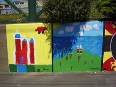 "Part of ""Patch-work"" Mural, painted by pupils supervised/facilitated by Ellen. Berhampore School, Britomart Street, Berhampore, Wellington."