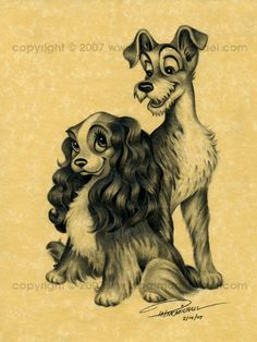 Lady and the Tramp-1955 Grandma and Grandpa Fielder, Every time I see these two, I think of you two. I hope in heaven you have hundreds of dogs to love!