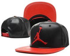 Jordan Leather Snapback Hats Black 145|only US$8.90