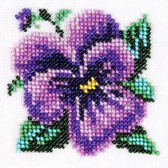 Pansies #sweet#simpl#crossstitch#pattern Simple Cross Stitch, Cross Stitch Rose, Modern Cross Stitch, Cross Stitch Flowers, Cross Stitch Designs, Cross Stitch Patterns, Fuse Bead Patterns, Bead Crochet Patterns, Beading Patterns