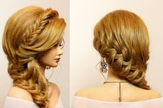 Braided hairstyle for party, everyday. Long hair tutorial