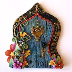 Boho in Blue Fairy Door Pixie Portal by Claybykim on Etsy, $25.00