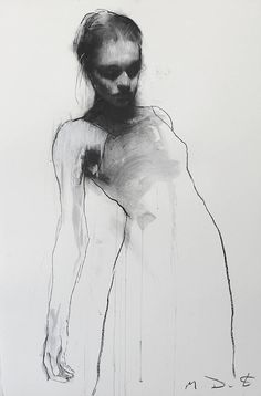 From a single stroke starting from the bottom of the sheet, the artist Mark Demsteader gives shape to elegant intriguing feminine figures. Figure Painting, Figure Drawing, Painting & Drawing, Pencil Painting, Charcoal Portraits, Charcoal Art, Charcoal Drawing, L'art Du Portrait, Female Portrait