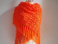 Bright Orange Shawl wrap stole by Namaoy on Etsy, $65.00