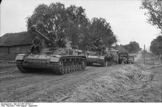 A column of German vehicles on the move in Russia in the late summer 1943.