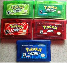 5pcs/set  Pokemon games Lot 5version Games card : emerald, fire red, leaf green, ruby, sapphire for G-BA Game-boy Advance