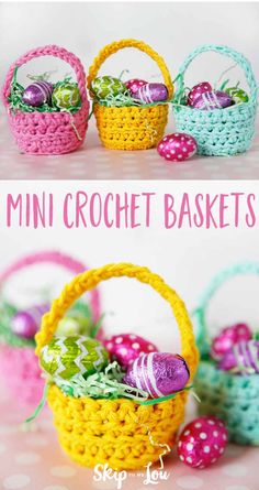 Whip up this crochet basket pattern in minutes! In no time at all, you will have a darling crochet basket. I filled them with paper grass and chocolate covered eggs for Easter. They would also be super cute for May Day filled with some crochet flowers. Crochet Easter, Bunny Crochet, Easter Crochet Patterns, Crochet Basket Pattern, Holiday Crochet, Crochet Crafts, Crochet Flowers, Crochet Projects, Free Crochet