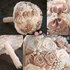 Bouquet gioiello con rose di raso e perle