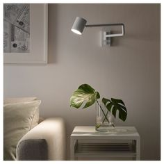 NYMÅNE Wall lamp with swing arm + LED bulb, white. NYMÅNE lamps have attitude but blend right in with most styles and expressions. Wall Mounted Lamps, Wall Lamps, Bedside Wall Lights, Philips Hue, Dimmable Light Bulbs, Countertop Materials, White Home Decor, Lights, Arredamento