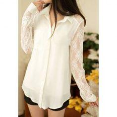 Camisa de gasa con detalles de encaje en mangas y espalda.