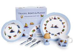 CHILDREN'S 7 PIECE MELAMINE SET - Trucks, Boats & Planes