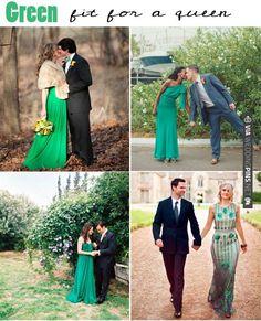Green wedding dresses ~ love a bride in emerald green   CHECK OUT MORE IDEAS AT WEDDINGPINS.NET   #weddings #weddingdress #inspirational