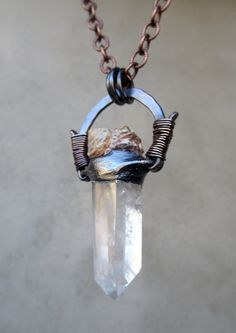 Tribal Amulet with Clear Quartz Wand and Sea by SilviasCreations